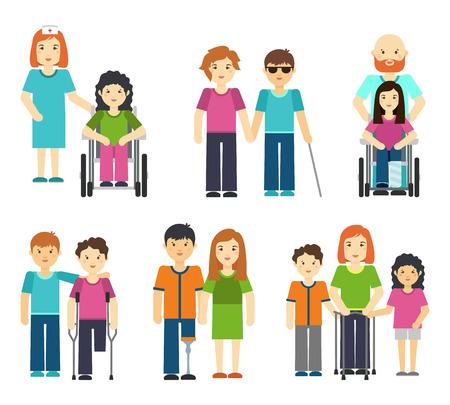 Persone con disabilità con illustrazione vettoriale di aiuto. Infermiera paziente con sedia a rotelle, persona con handicap