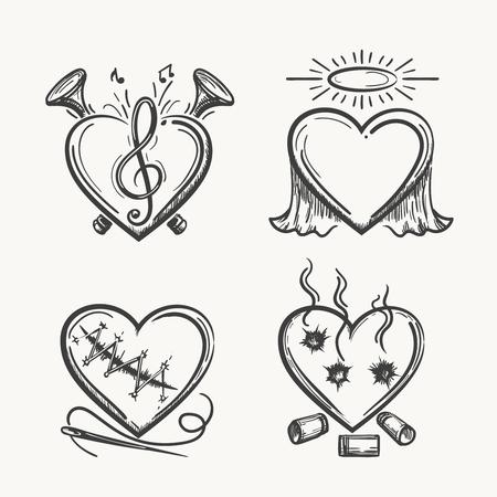 Tattoo harten. Hand getekende hart iconen vector illustratie. Engel van muziek, naald en kogels geïsoleerd op een witte achtergrond