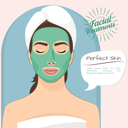 green face: Perfect skin vector illustration. Beautiful woman with peeling green face mask