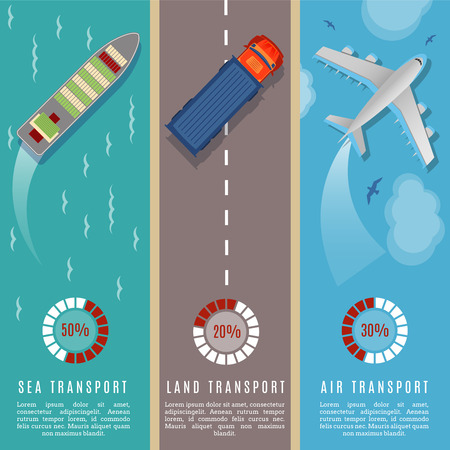 sea transport: Transportation top view infographics vector illustration. Transport and delivery by land transport, sea and plane
