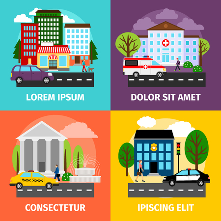 residential tree service: City concepts vector illustration. Residential areas and business buildings, municipality service sector