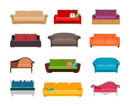 Sofa kolorowy wektor zestaw. Kolekcja wygodna kanapa na białym tle. Ilustracje wektorowe