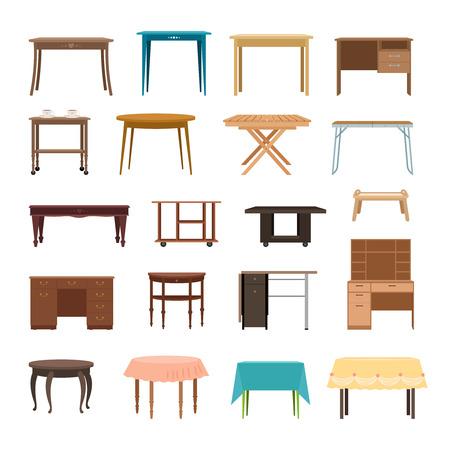 Meubilairlijst op witte achtergrond wordt geïsoleerd die. Moderne en retro tabellen, retro en kantoor bureau iconen vector illustratie
