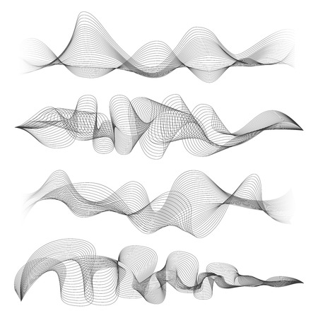 digital music: Abstract sound waves isolated on white background. Digital music signal soundwave shapes vector illustration