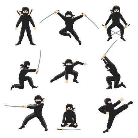 Cute cartoon ninja vector illustration. Kicking and jumping ninjas isolated on white background