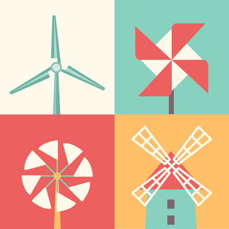 wind mills: Windmill linear flat icons. Wind energy cartoon vector illustration