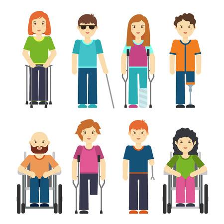 Las personas con discapacidad aislados sobre fondo blanco. Discapacidad persona situado ilustración vectorial
