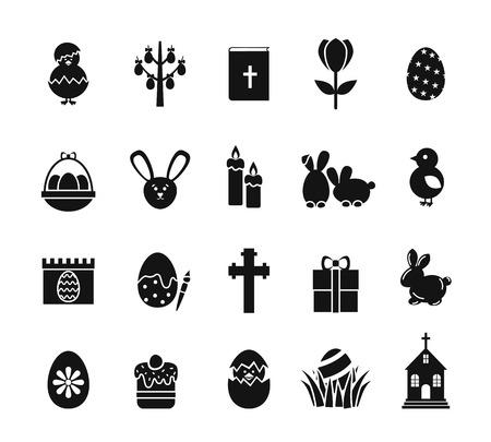 cristianismo: Iconos de Pascua. Signos cristianos del día de fiesta del resorte blanco y negro como huevo del conejito, cruz del pollo