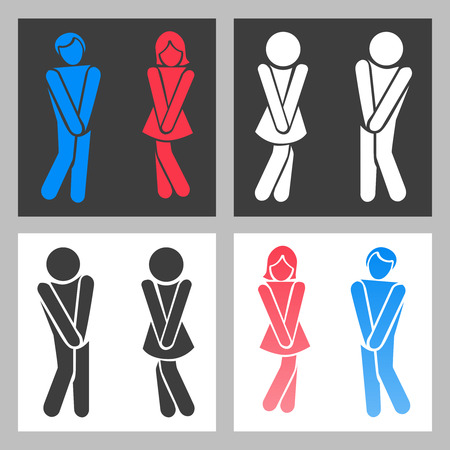 WC sign. Vector funny boy and girl toilet icons or female male bathroom symbols Çizim