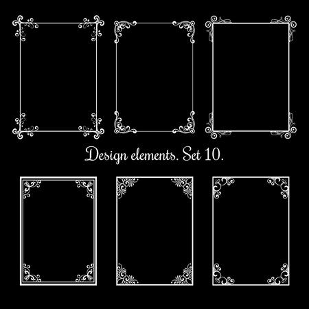 Cadres floraux calligraphiques. Frontières décoratives de vecteur vintage s'épanouir