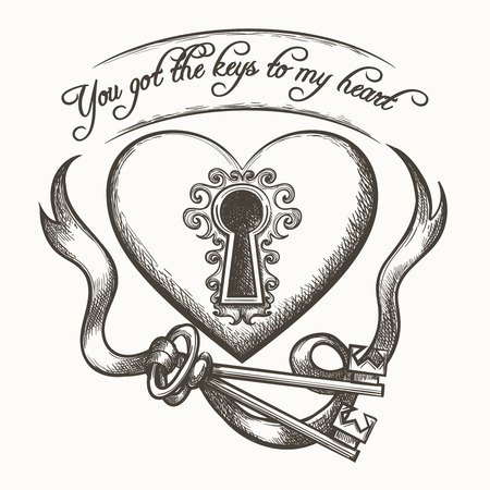 keys isolated: You got the keys to my heart vintage hand drawn vector illustration with ribbon isolated on white background