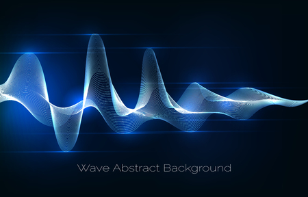 Sound wave abstract background. Audio waveform vector illustration Иллюстрация