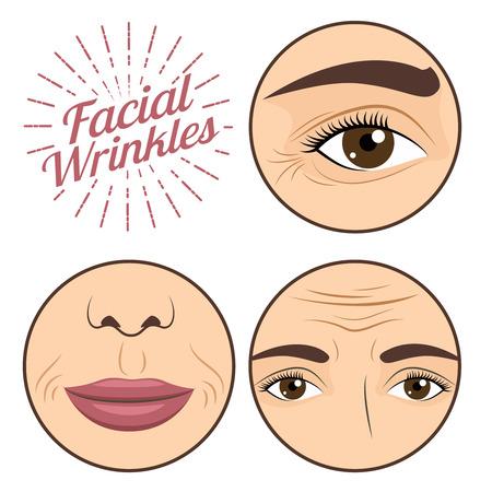 Problemas de arrugas faciales de la mujer joven para la ilustración de vector de crema de proceso anti arrugas