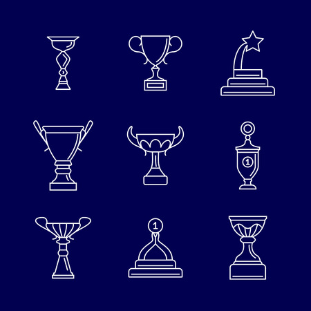 Trophy cup thin line icons. Linear podium award winning vector signs