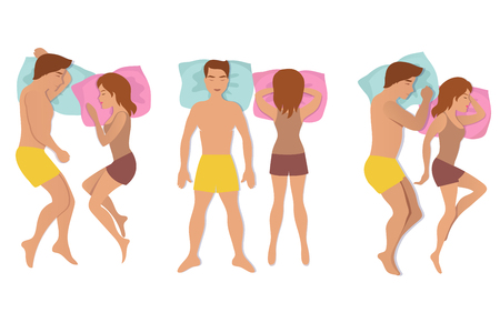 Couple sleeping poses. Man and woman resting and dreaming positions vector illustration Illustration