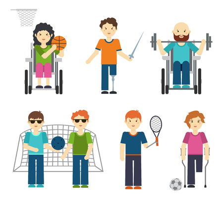 wheel chair: Disabled sports vector illustration. Handicapped people in sport