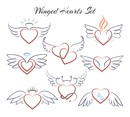 Ensemble de coeur ailé. Coeurs avec des ailes dans l'illustration vectorielle de doodle style isolé sur fond blanc Banque d'images - 74300615