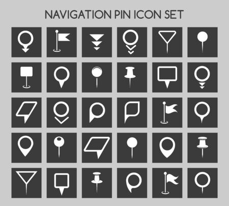 navigation icons: Navigation pin icons. Map location marker and web pointer simple vector elements