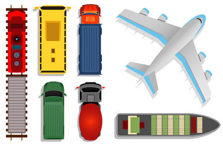 Top view transport vector illustration. Cargo moving by truck and plane, ship and train isolated on white background