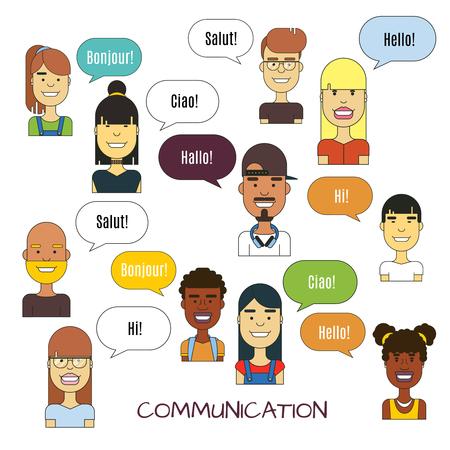 boy lady: People communication vector illustration. International foreign language communications