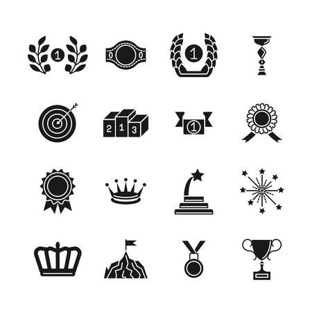 awarding: Award icons. Black vector competition awarding and achievement silhouette icon set isolated on white background
