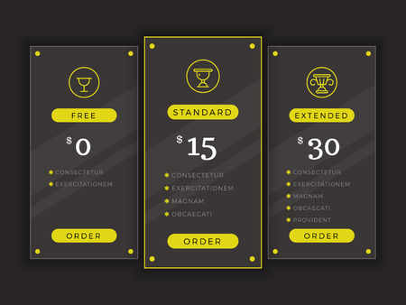tariff: Pricing table, comparison chart vector template