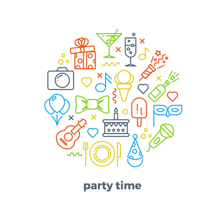 entertainment event: Event, party, entertainment, carnival festive outline vector icons