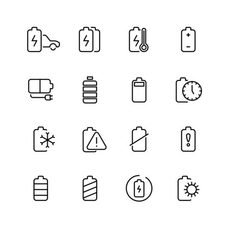 rechargeable: Electric watt rechargeable battery thin line vector icons