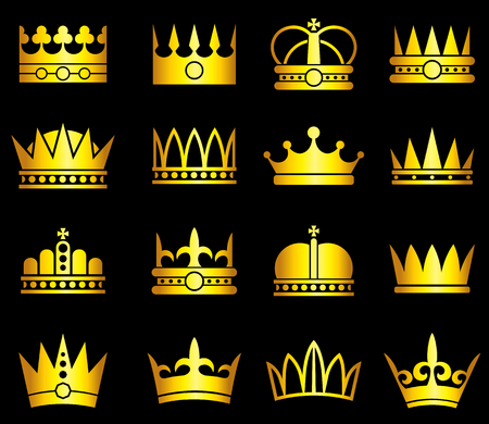 Gold crown, aristocracy symbols vector set Illustration