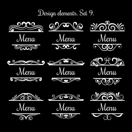 Swirl menu text labels. Vector flourish vintage decoration calligraphic design elements for restaurants Illustration