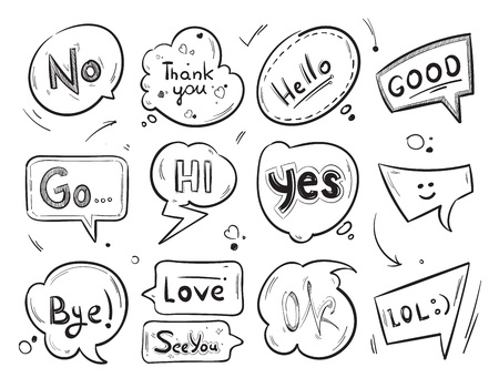 say hello: Hand drawn comic speech bubbles with popular message words vector collection
