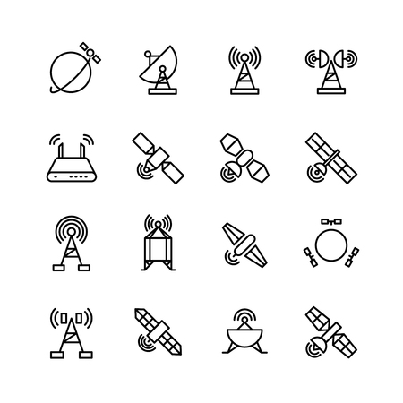 orbital station: Space orbit communication satellite, global navigation vector line icons