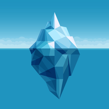 tip of iceberg: Ocean iceberg antarctic landscape vector background Illustration