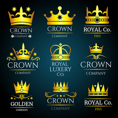 Luxury crown vector vintage monogram, logos set for boutique and jewellery  イラスト・ベクター素材