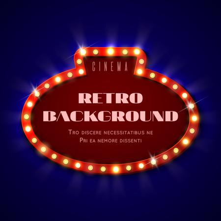 Retro light sign, frame with bulbs, vintage cinema hollywood billboard vector illustration