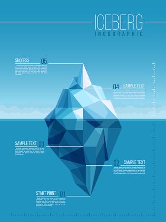 Iceberg and under water antarctic ocean vector infographic template
