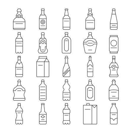 beverage: Alcohol drink bottles and beverage vector line icons set Illustration