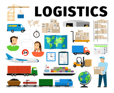 Logistics vector elements isolated on white background. Worker and transport, warehouse distribution work fulfillment center
