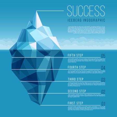 Iceberg con el océano azul de agua de vector de negocios infográfico