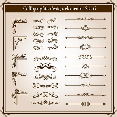 ornate swirls: Vintage linear ornate decorative elements. Retro flourish line dividers, corners and swirls for page decoration