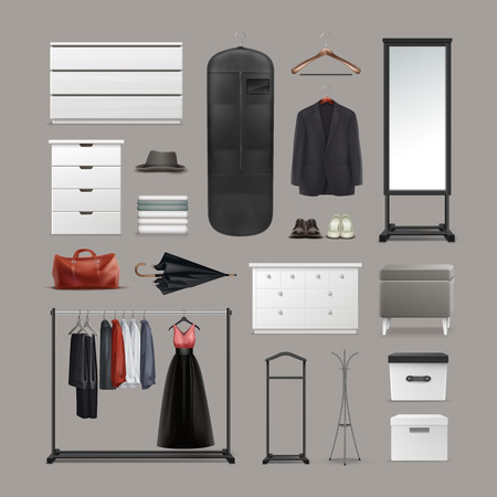 clothing rack: Set of wardrobe stuff
