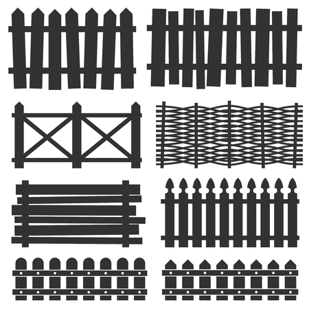 paling: Country wooden fences, palisade vector silhouettes