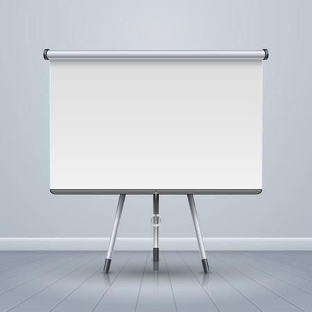 presentation screen: Whiteboard projector presentation screen vector illustration Illustration