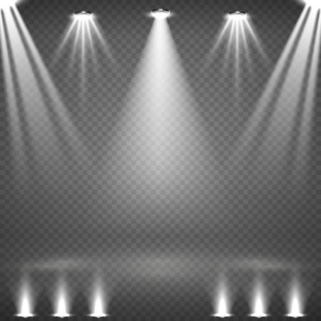 Blank scene with glowing white spotlights vector illustration Illustration