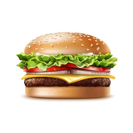 sesame: Vector Realistic Hamburger Fast Food