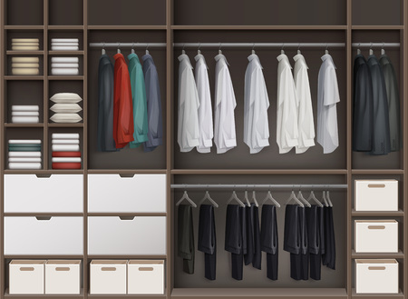 clothing rack: Cloakroom closet illustration.