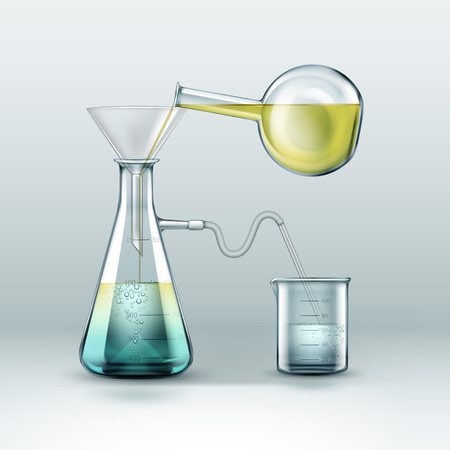 distilling: Chemical laboratory experiment