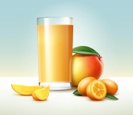 Kumquat fruit juice. Illustration