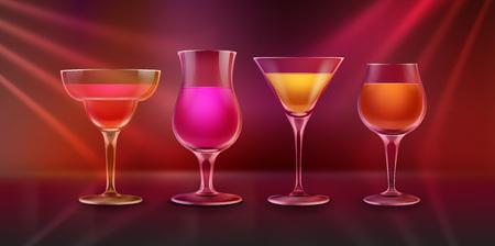 Cocktails on bar counter Illustration