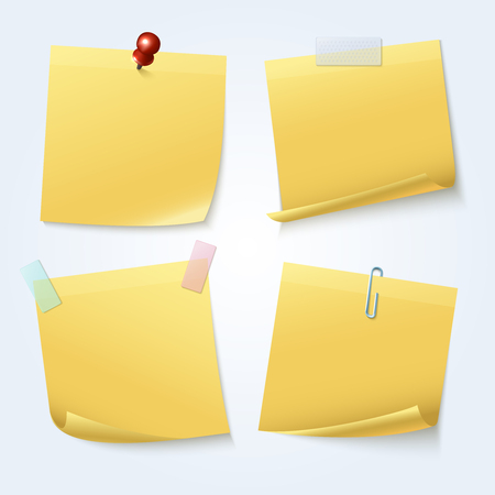 tack: Sticky note pages, yellow papers vector set Illustration